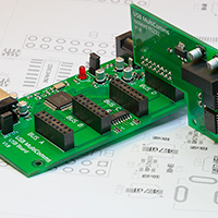 PCB with RS232 prototype board