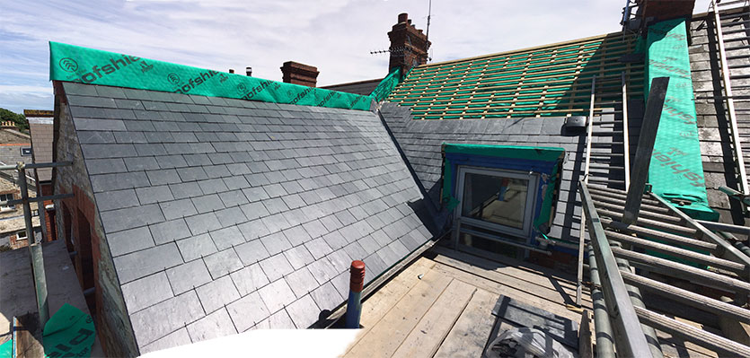 Slates being installed