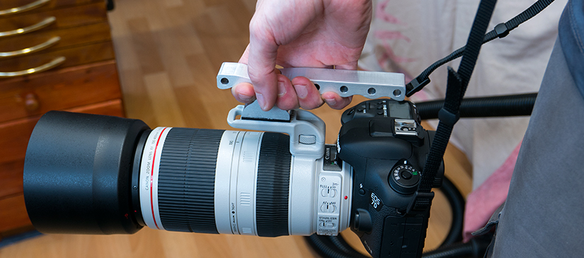 Grip fitted to the camera