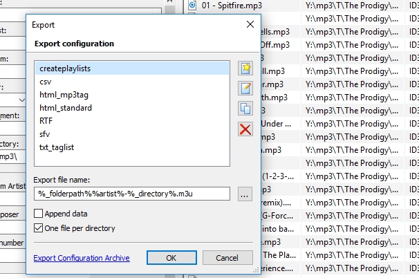 Export configuration window