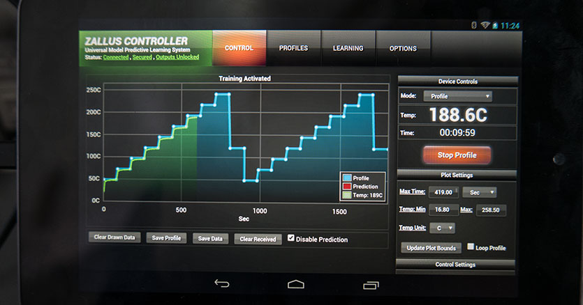 Android app running the learning profile to calibrate the oven and cooling.