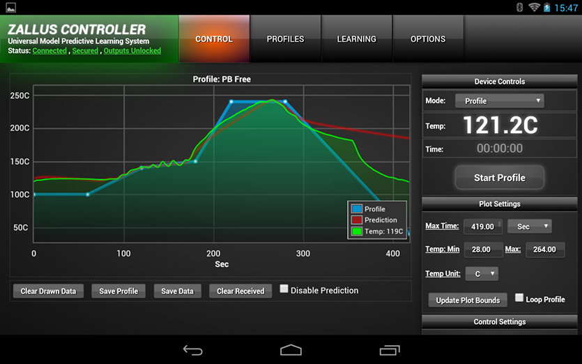 Android App running the cooking profile to reflow our Raspberry Pi expansion boards