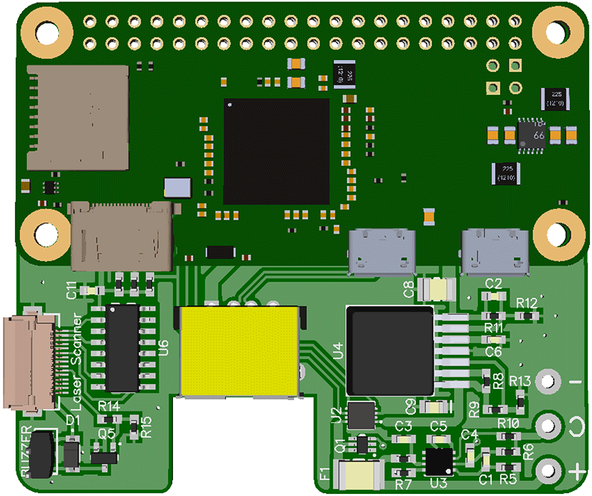 Raspberry Pi Zero Barcode Scanner project pcb