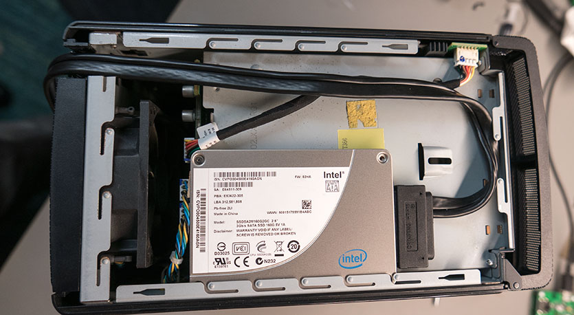 The SSD drive installed in the top of the case