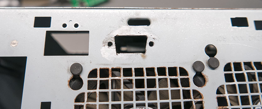 The VGA socket hole in the back of the casee