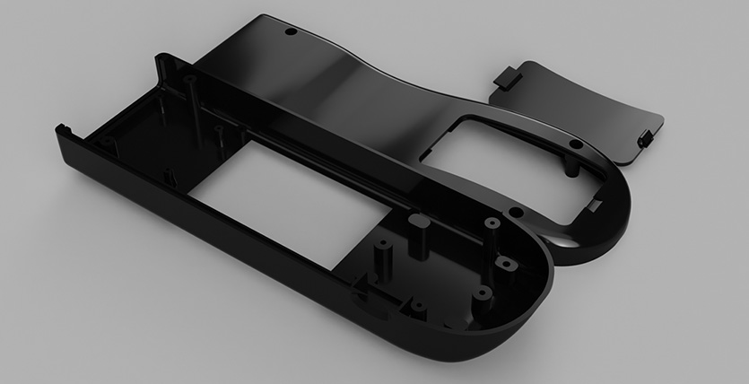 The exploded case was rendered using black ABS style material, click to open larger version