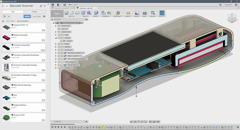 Fusion 360 software showing a cutaway of the new case with the boards and batteries inside, click to open larger version
