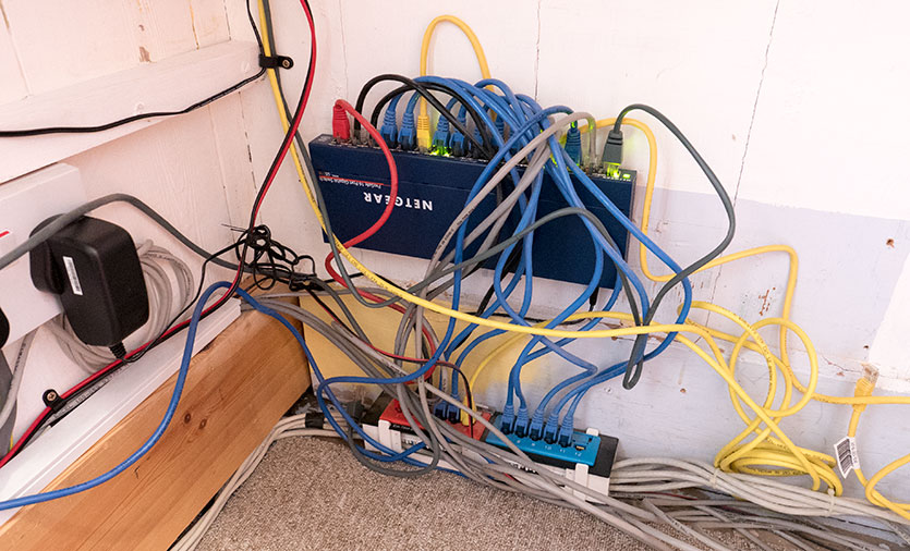 The old upstairs network and switch