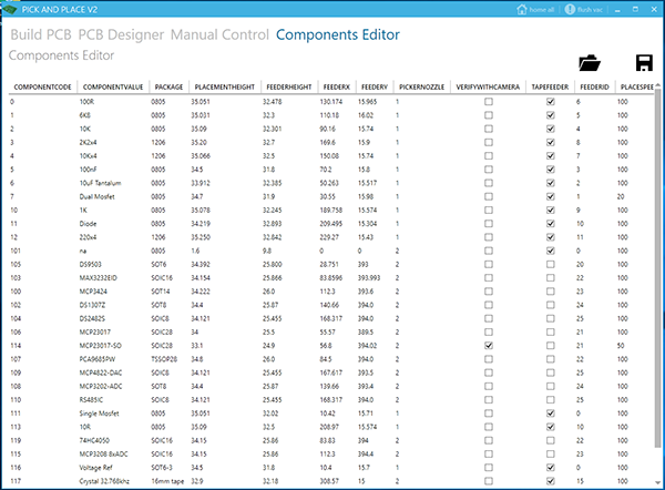 Components List Editor
