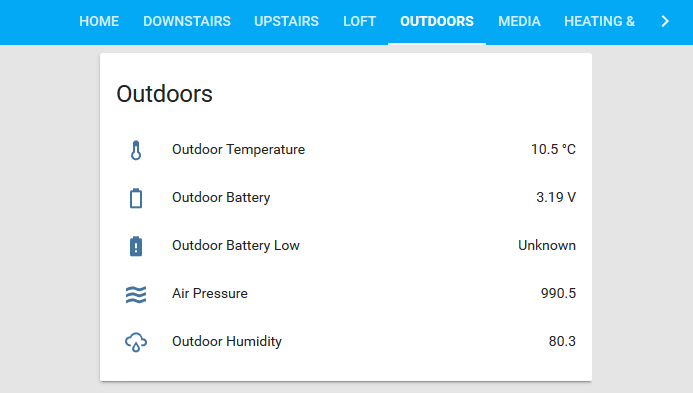 Outdoors sensors page