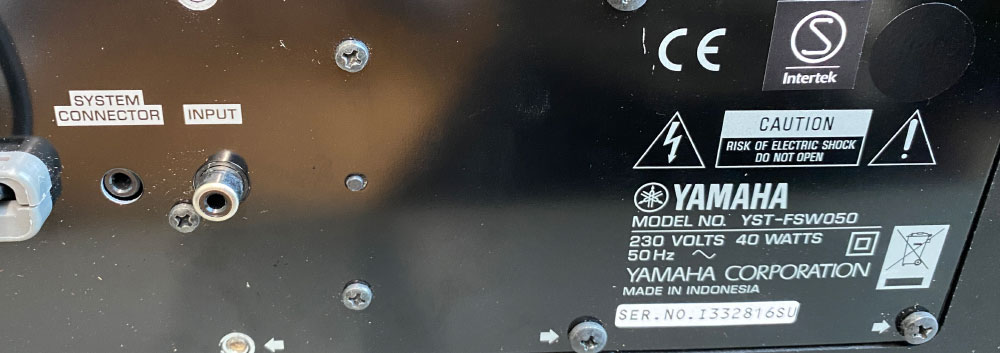 Yamaha YST-FSW050 rear panel