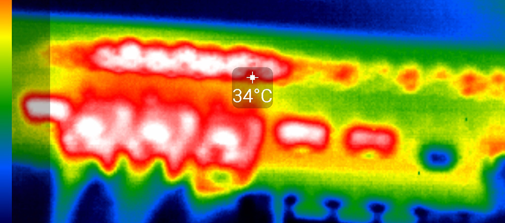 Temperatures with the RJ45 10Gb modules with the thermal camera