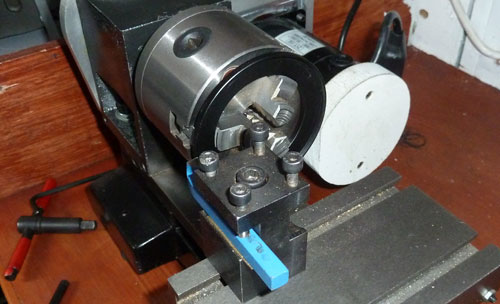 cutting the adaptor on the lathe