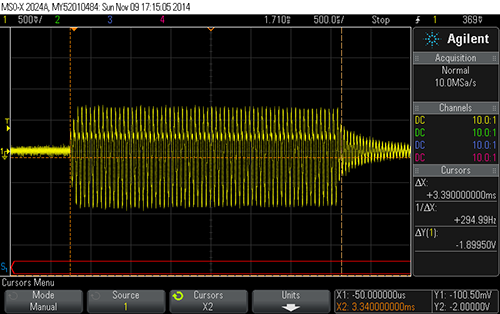 Click to view large image of 3.3ms pulse on scope