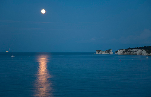 moon rising over old harry