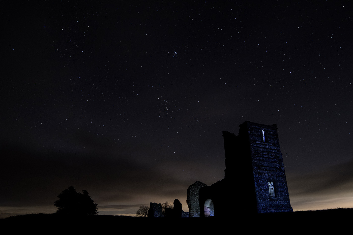 Photo of Knowlton Church night time
