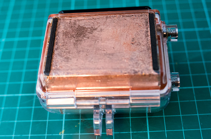 Copper leaf fitted to the back of the waterproof case