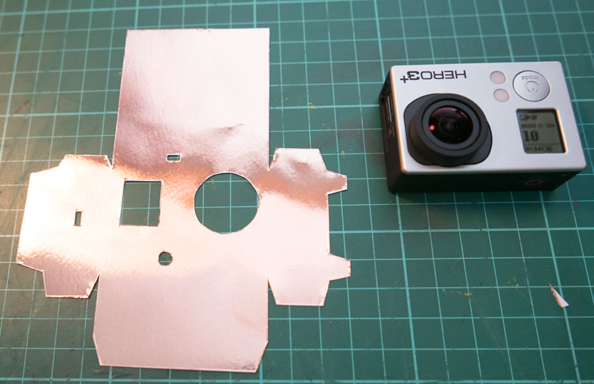 Copper sheet cutout ready to be fitted to the GoPro