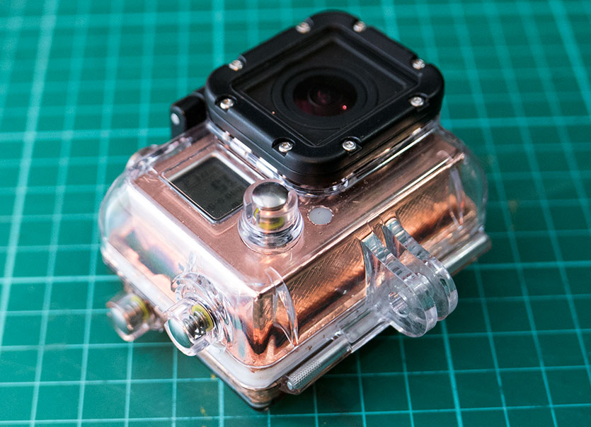 The finished shielded GoPro Hero 3 in the waterproof case
